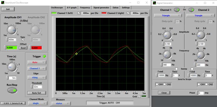 BOSS OD-3 - 440 Hz triangle, 100mV